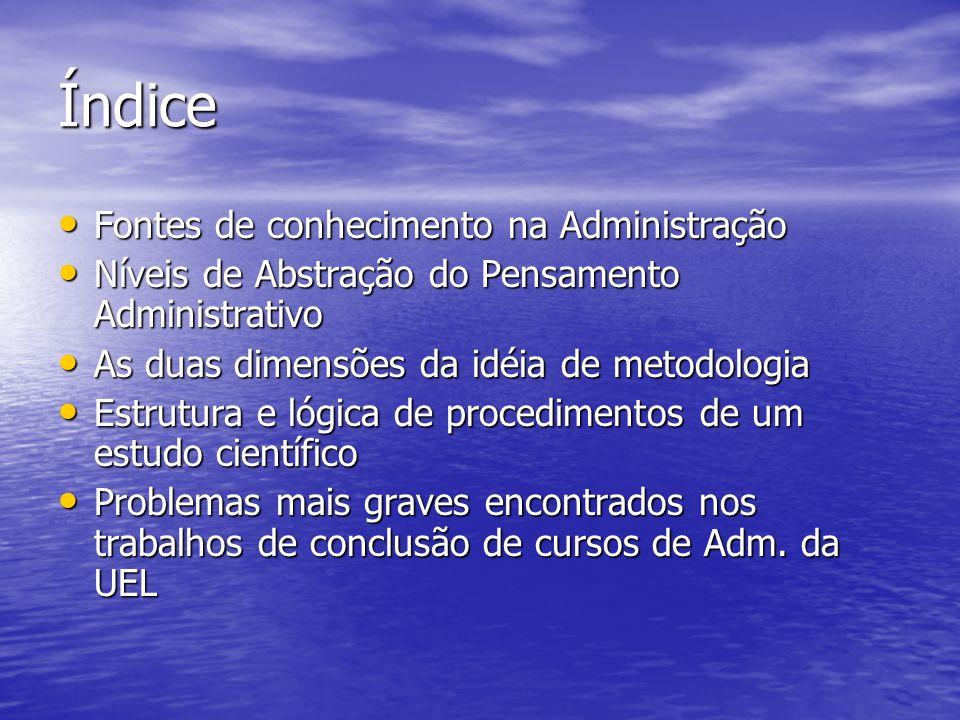 Índice Fontes de conhecimento na Administração Fontes de conhecimento na Administração Níveis de Abstração do Pensamento Administrativo Níveis de Abst