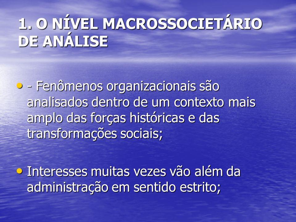 1. O NÍVEL MACROSSOCIETÁRIO DE ANÁLISE - Fenômenos organizacionais são analisados dentro de um contexto mais amplo das forças históricas e das transfo