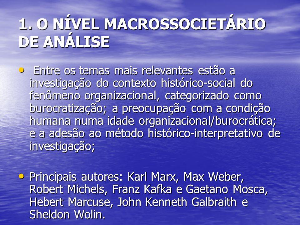 Entre os temas mais relevantes estão a investigação do contexto histórico-social do fenômeno organizacional, categorizado como burocratização; a preoc