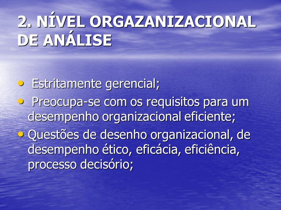 2. NÍVEL ORGAZANIZACIONAL DE ANÁLISE Estritamente gerencial; Estritamente gerencial; Preocupa-se com os requisitos para um desempenho organizacional e