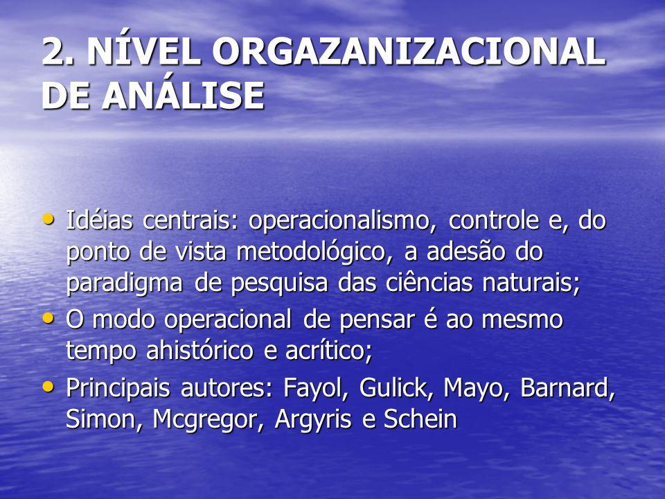 Idéias centrais: operacionalismo, controle e, do ponto de vista metodológico, a adesão do paradigma de pesquisa das ciências naturais; Idéias centrais: operacionalismo, controle e, do ponto de vista metodológico, a adesão do paradigma de pesquisa das ciências naturais; O modo operacional de pensar é ao mesmo tempo ahistórico e acrítico; O modo operacional de pensar é ao mesmo tempo ahistórico e acrítico; Principais autores: Fayol, Gulick, Mayo, Barnard, Simon, Mcgregor, Argyris e Schein Principais autores: Fayol, Gulick, Mayo, Barnard, Simon, Mcgregor, Argyris e Schein 2.