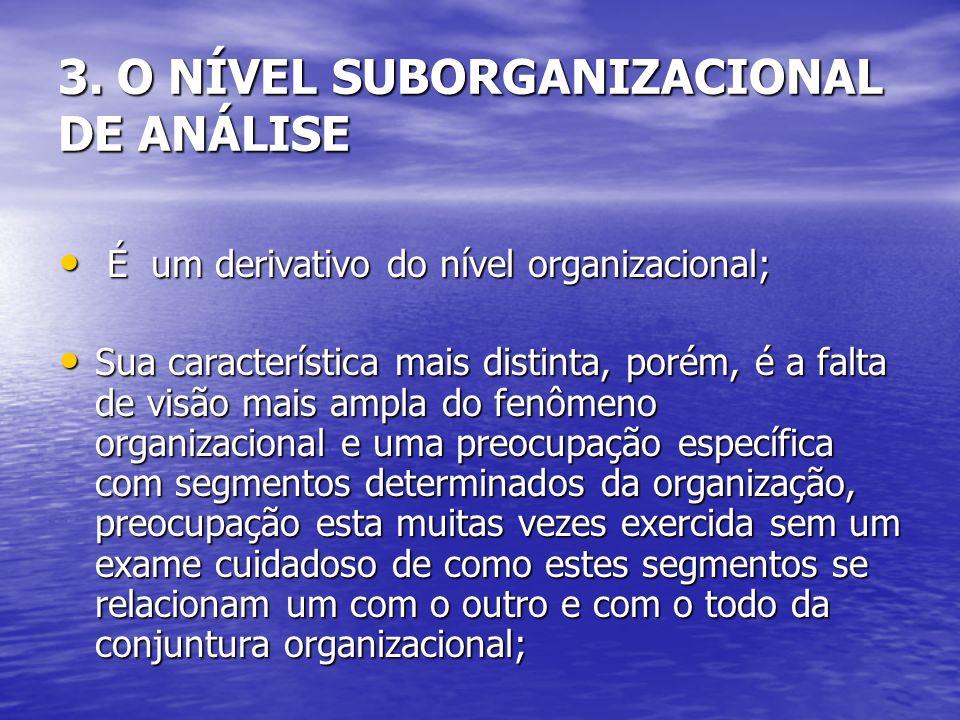 É um derivativo do nível organizacional; É um derivativo do nível organizacional; Sua característica mais distinta, porém, é a falta de visão mais amp