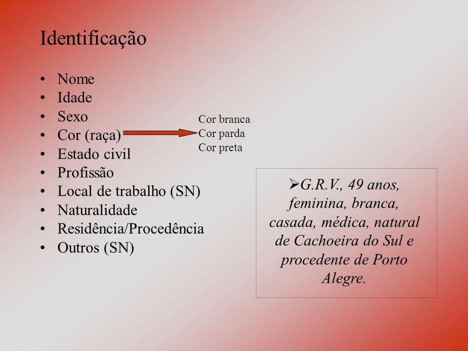 Revisão de Sistemas 3) Tórax: Parede torácica Mamas Traquéia, brônquios, pulmões e pleura –Dispnéia (dificuldade para respirar)Ortopnéia (dispnéia ao decúbito) –Hemoptise (eliminação de sangue dos brônquios ou pulmões pela boca) Diafragma e mediastino Coração e grandes vasos –Palpitação (percepção incômoda dos batimentos cardíacos) –Síncope (perda súbita e transitória da consciência - desmaio) Esôfago –Pirose (sensação de queimação retroesternal - azia)