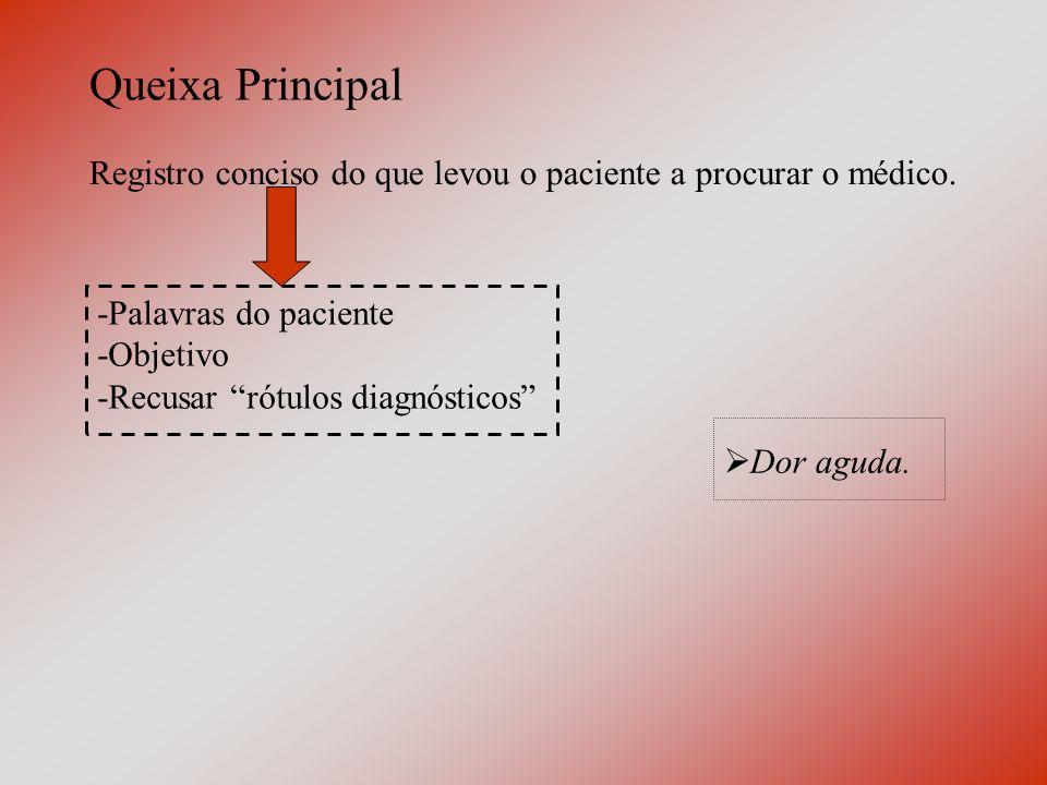 História da Doença Atual (HDA) Não é o registro puro e direto das informações do paciente, mas a interpretação destas pelo médico.