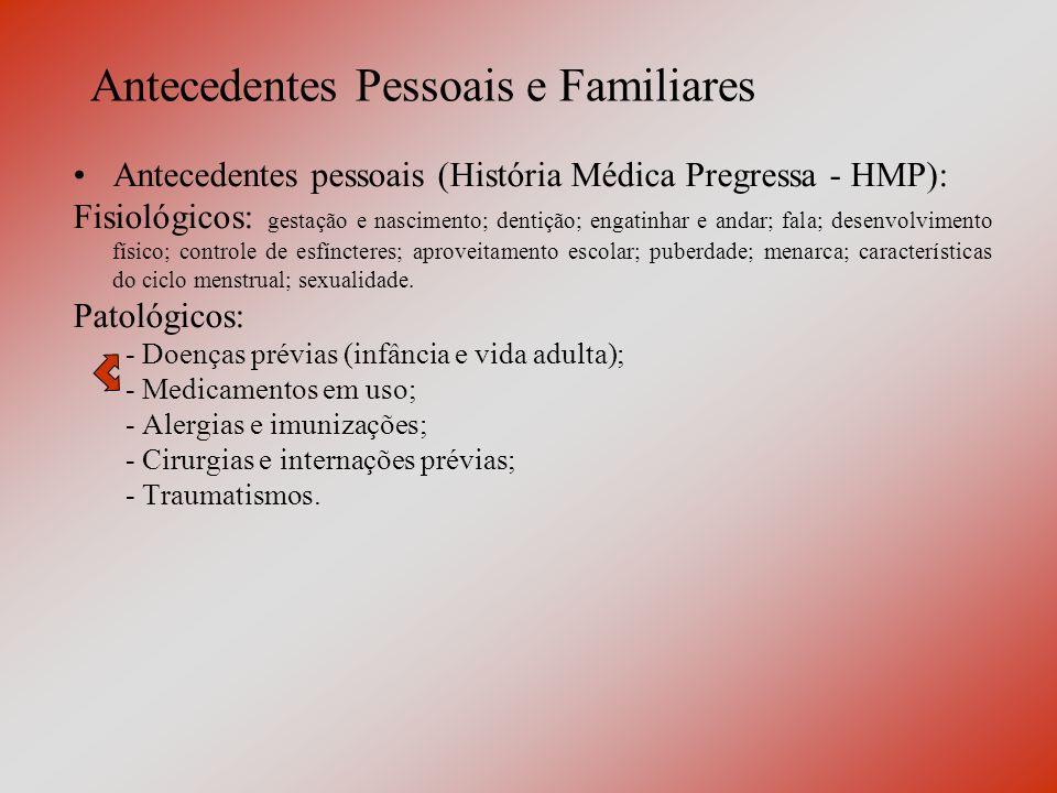 Antecedentes Pessoais e Familiares ITU de repetição na infância; Amigdalectomia com 1 ano e 7 meses; Pneumonia na infância e quando adulto; 3 partos normais; Ligadura tubária aos 39 anos; Nega alergias, HAS, DM, dislipidemia e quaisquer outras comorbidades.