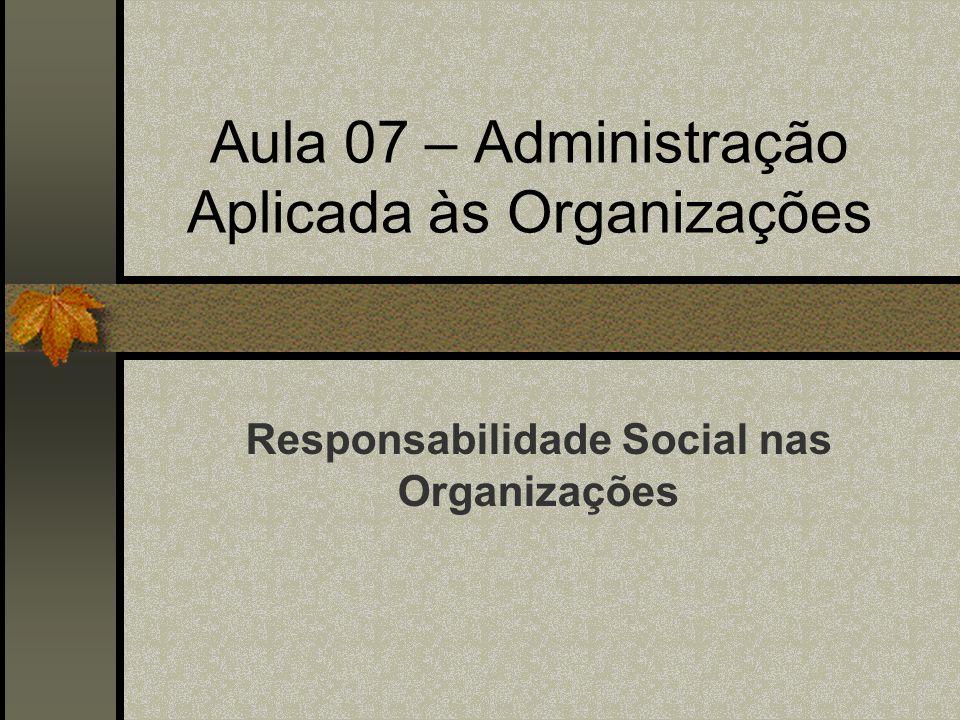 Aula 07 – Administração Aplicada às Organizações Responsabilidade Social nas Organizações