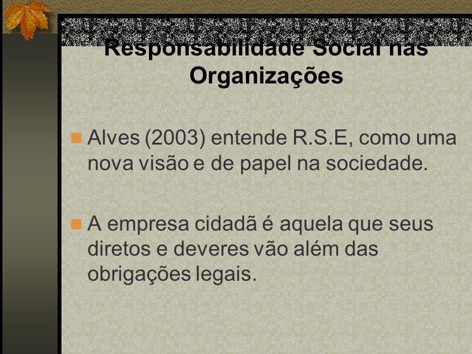 Responsabilidade Social nas Organizações Alves (2003) entende R.S.E, como uma nova visão e de papel na sociedade. A empresa cidadã é aquela que seus d