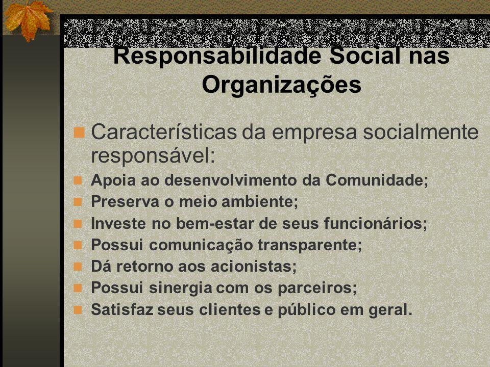 Responsabilidade Social nas Organizações Características da empresa socialmente responsável: Apoia ao desenvolvimento da Comunidade; Preserva o meio a
