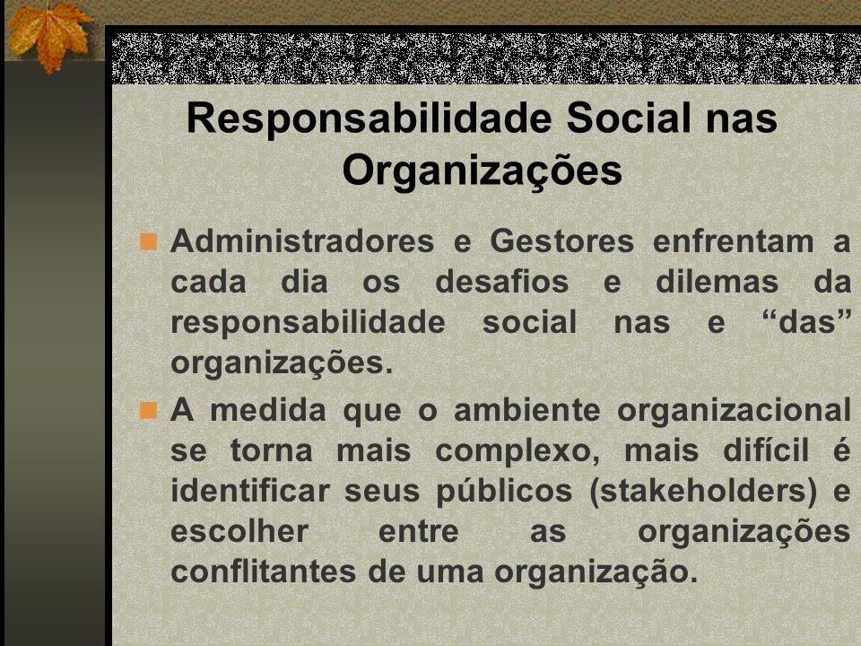 Responsabilidade Social nas Organizações Desde o início do século, as empresa vem sendo criticadas por práticas empresariais corruptas, levando os governos a criarem leis para responsabilizar as empresas e defender os consumidores.