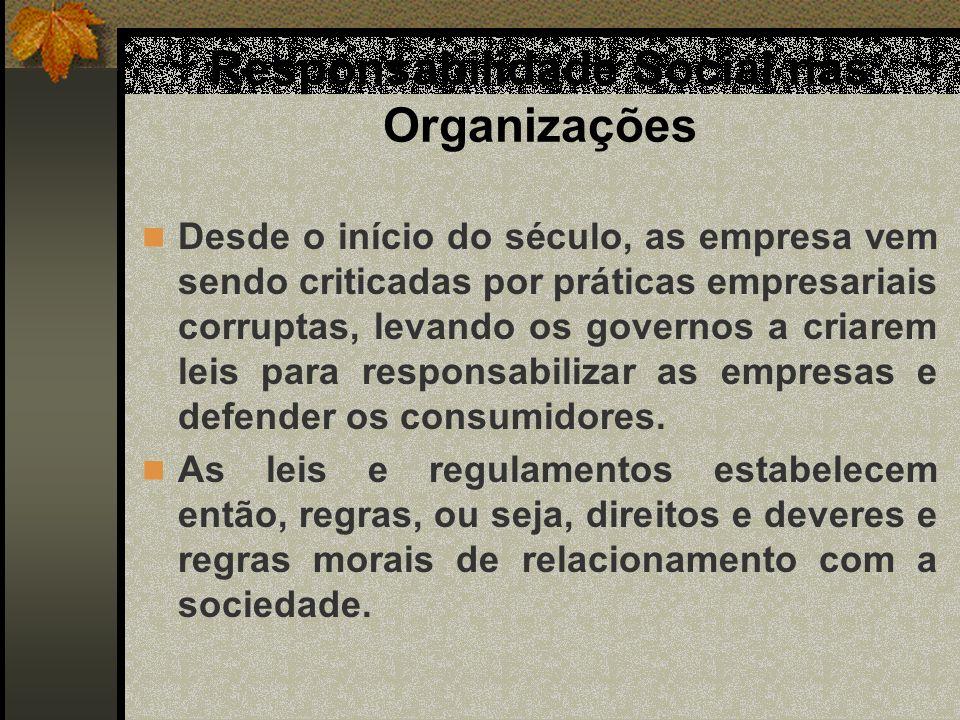 Responsabilidade Social nas Organizações Desde o início do século, as empresa vem sendo criticadas por práticas empresariais corruptas, levando os gov