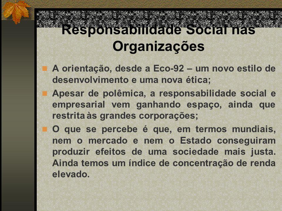 Responsabilidade Social nas Organizações A orientação, desde a Eco-92 – um novo estilo de desenvolvimento e uma nova ética; Apesar de polêmica, a resp