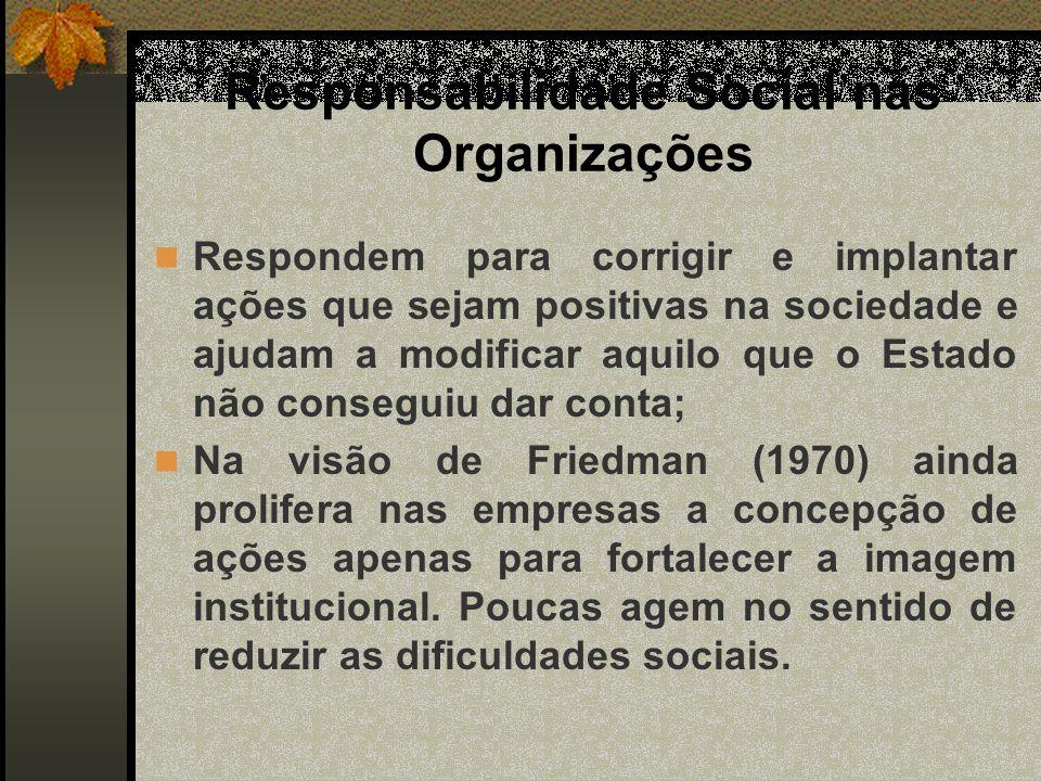 Responsabilidade Social nas Organizações Alves (2003) entende R.S.E, como uma nova visão e de papel na sociedade.