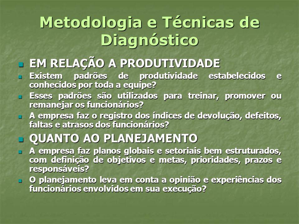 Metodologia e Técnicas de Diagnóstico EM RELAÇÃO A PRODUTIVIDADE EM RELAÇÃO A PRODUTIVIDADE Existem padrões de produtividade estabelecidos e conhecido