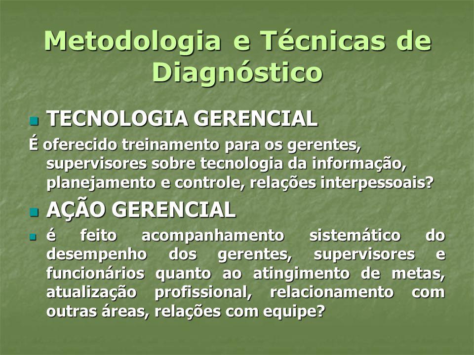 Metodologia e Técnicas de Diagnóstico TECNOLOGIA GERENCIAL TECNOLOGIA GERENCIAL É oferecido treinamento para os gerentes, supervisores sobre tecnologi