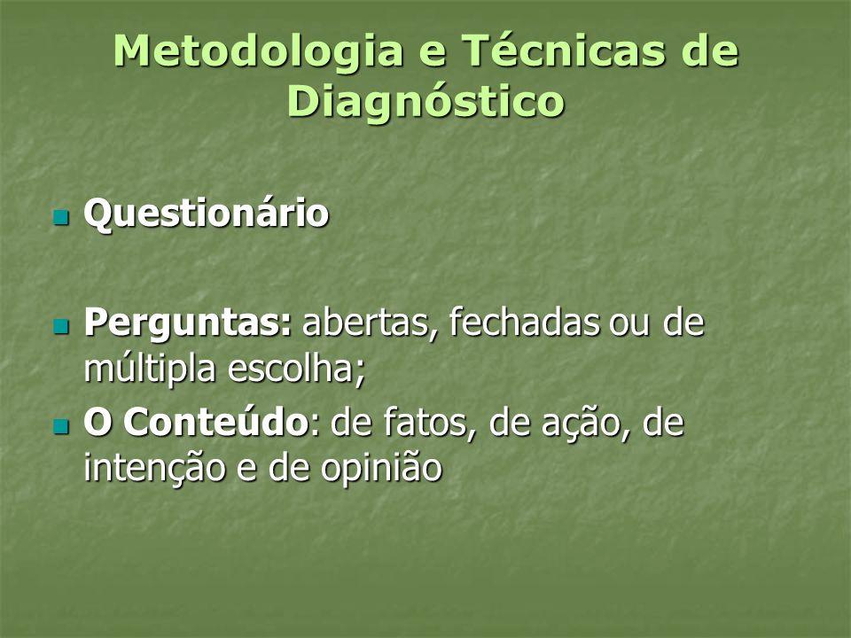 Metodologia e Técnicas de Diagnóstico Questionário Questionário Perguntas: abertas, fechadas ou de múltipla escolha; Perguntas: abertas, fechadas ou d