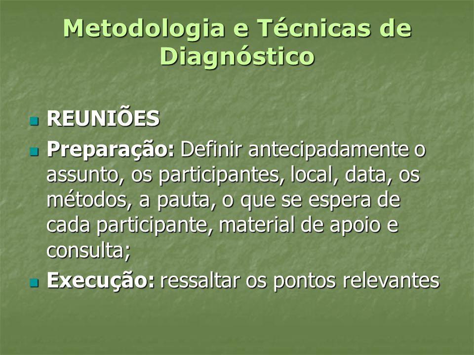 Metodologia e Técnicas de Diagnóstico REUNIÕES REUNIÕES Preparação: Definir antecipadamente o assunto, os participantes, local, data, os métodos, a pa