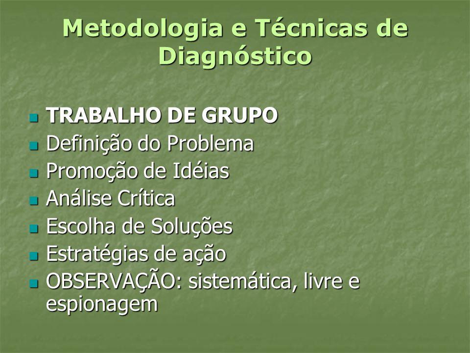 Metodologia e Técnicas de Diagnóstico TRABALHO DE GRUPO TRABALHO DE GRUPO Definição do Problema Definição do Problema Promoção de Idéias Promoção de I
