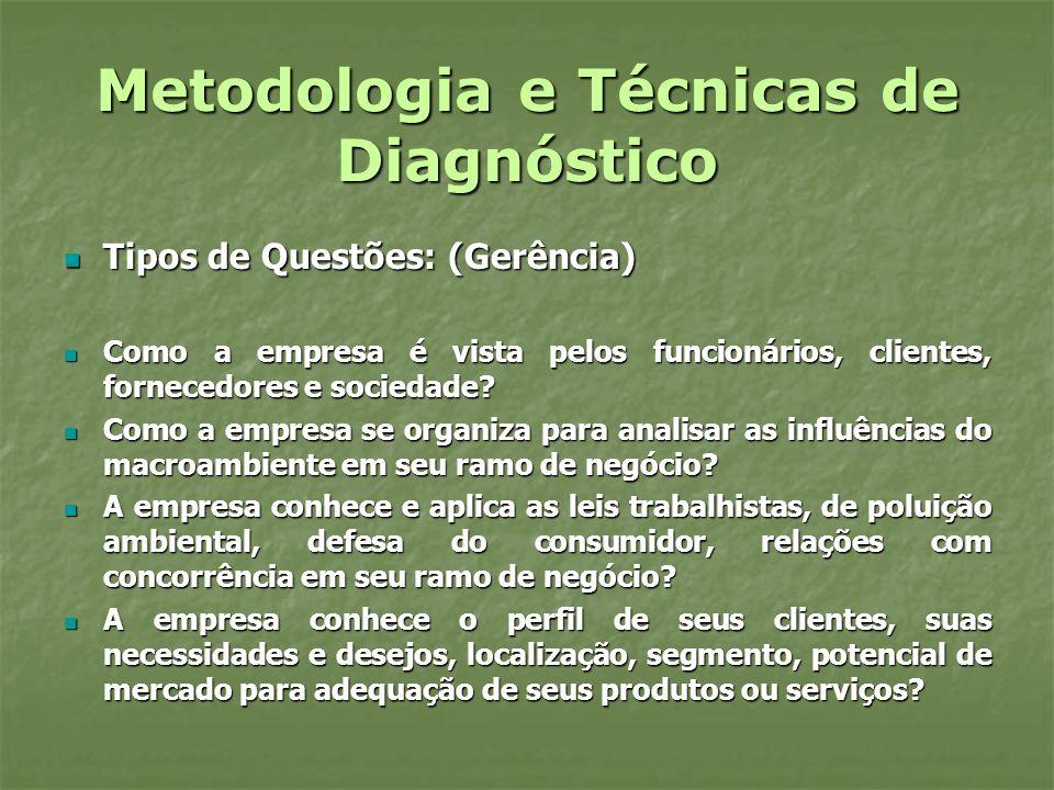 Metodologia e Técnicas de Diagnóstico Tipos de Questões (Gerência) Tipos de Questões (Gerência) Em Relação aos fornecedores: Em Relação aos fornecedores: Quais são os critérios de escolha para comprar de um fornecedor.