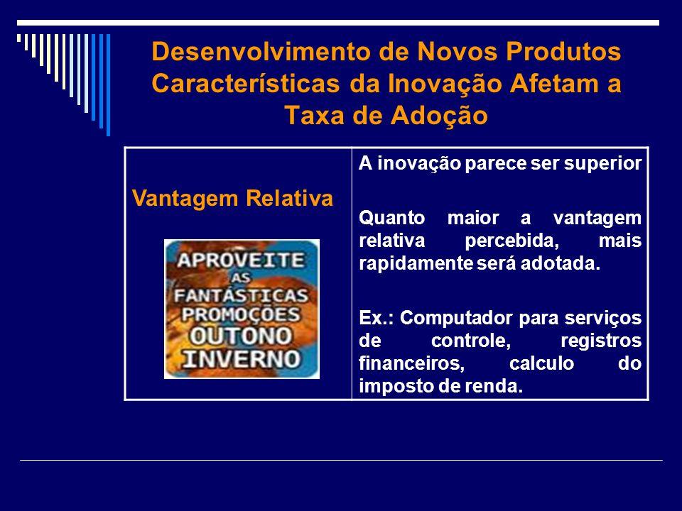 Desenvolvimento de Novos Produtos Características da Inovação Afetam a Taxa de Adoção Vantagem Relativa A inovação parece ser superior Quanto maior a