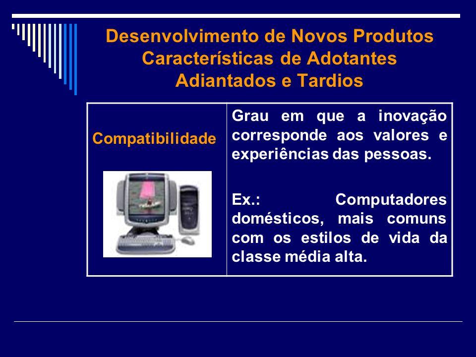 Desenvolvimento de Novos Produtos Características de Adotantes Adiantados e Tardios Compatibilidade Grau em que a inovação corresponde aos valores e e