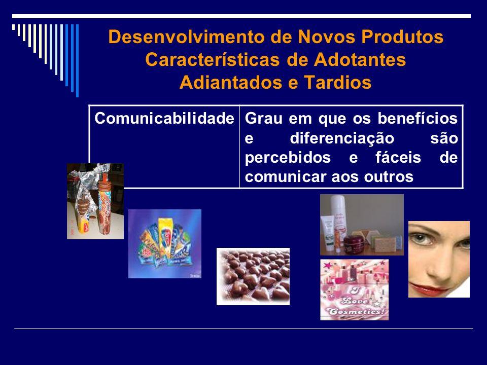 Desenvolvimento de Novos Produtos Características de Adotantes Adiantados e Tardios ComunicabilidadeGrau em que os benefícios e diferenciação são perc