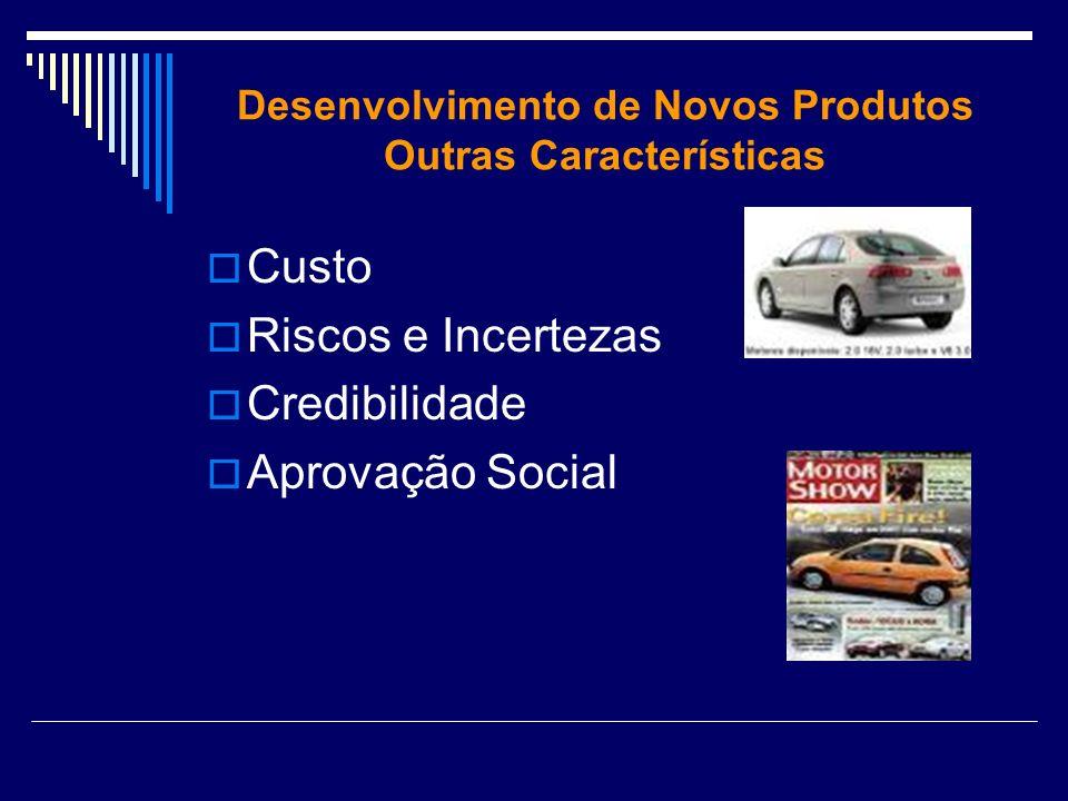 Desenvolvimento de Novos Produtos Outras Características Custo Riscos e Incertezas Credibilidade Aprovação Social