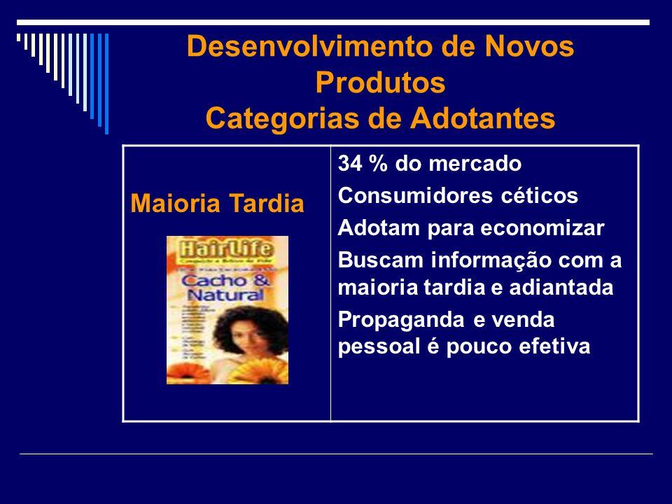 Desenvolvimento de Novos Produtos Categorias de Adotantes Maioria Tardia 34 % do mercado Consumidores céticos Adotam para economizar Buscam informação