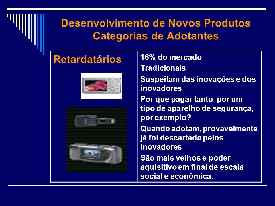 Desenvolvimento de Novos Produtos Categorias de Adotantes Retardatários 16% do mercado Tradicionais Suspeitam das inovações e dos inovadores Por que p