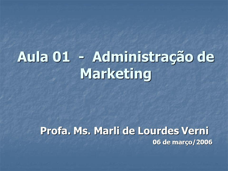 Aula 01 - Administração de Marketing Profa. Ms. Marli de Lourdes Verni 06 de março/2006