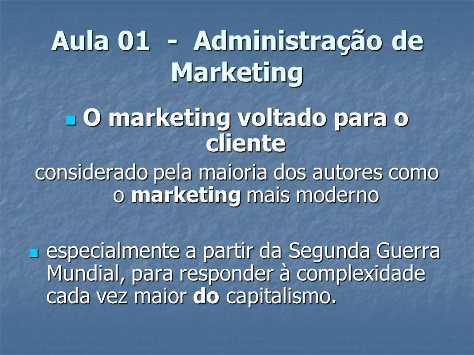 Aula 01 - Administração de Marketing O marketing voltado para o cliente O marketing voltado para o cliente considerado pela maioria dos autores como o