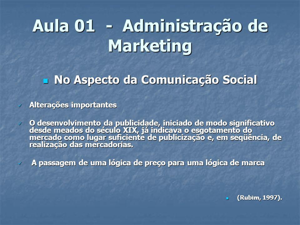 Aula 01 - Administração de Marketing No Aspecto da Comunicação Social No Aspecto da Comunicação Social Alterações importantes Alterações importantes O