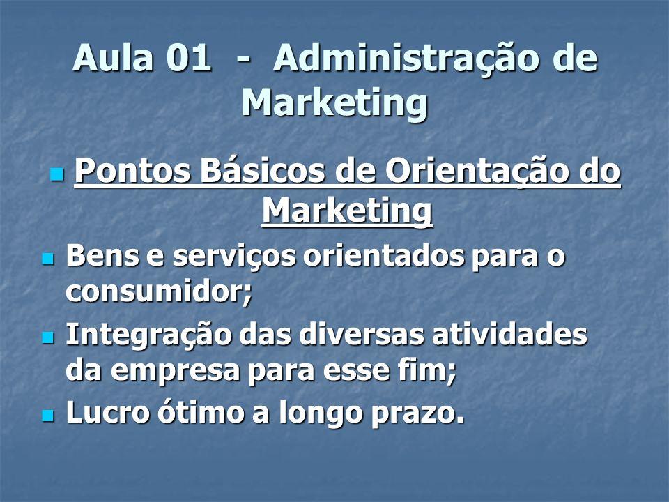 Aula 01 - Administração de Marketing o marketing como uma engenharia que integra fatos e incorpora todas as atividades da empresa desde antes da produção e até a chegada do produto ao consumidor.