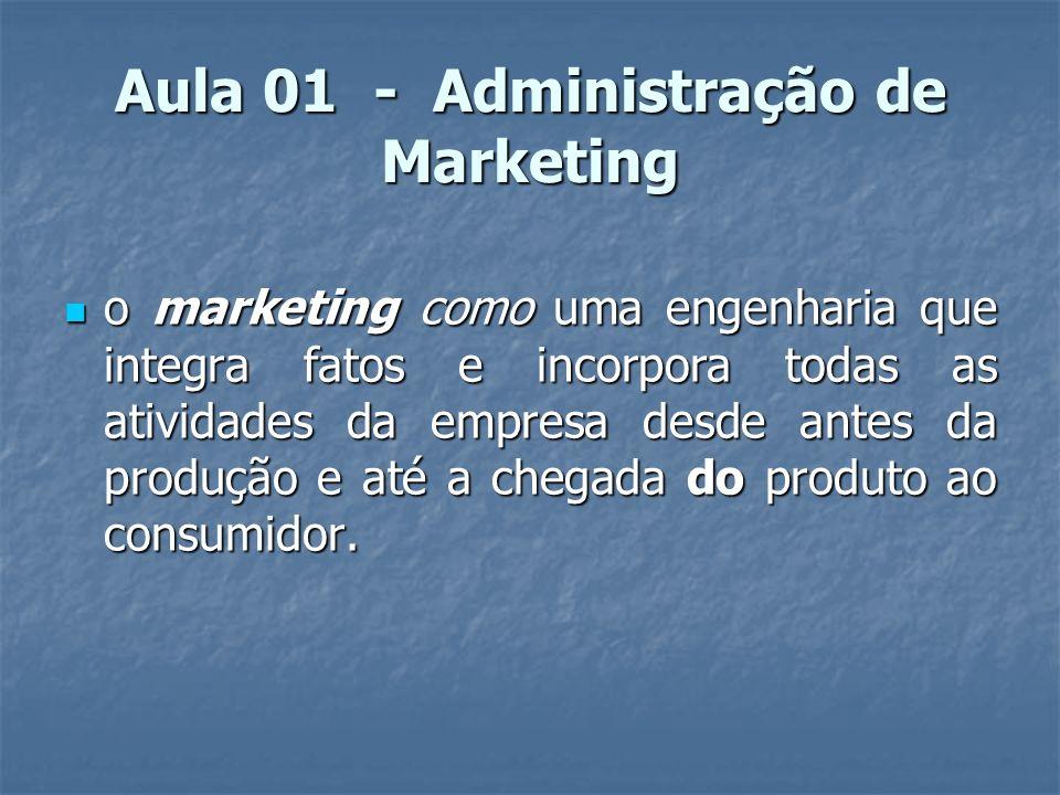 Aula 01 - Administração de Marketing o marketing como uma engenharia que integra fatos e incorpora todas as atividades da empresa desde antes da produ