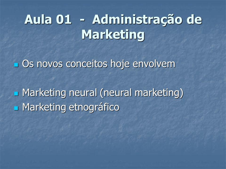 Aula 01 - Administração de Marketing Os novos conceitos hoje envolvem Os novos conceitos hoje envolvem Marketing neural (neural marketing) Marketing n