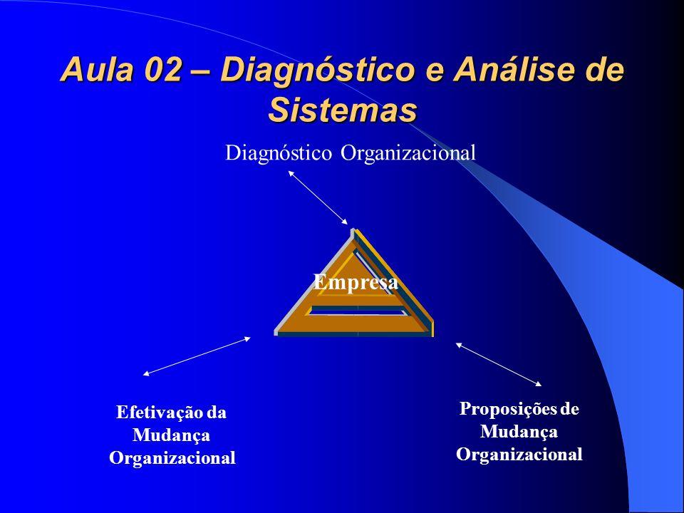 Aula 02 – Diagnóstico e Análise de Sistemas Diagnóstico Organizacional Proposições de Mudança Organizacional Efetivação da Mudança Organizacional Empr