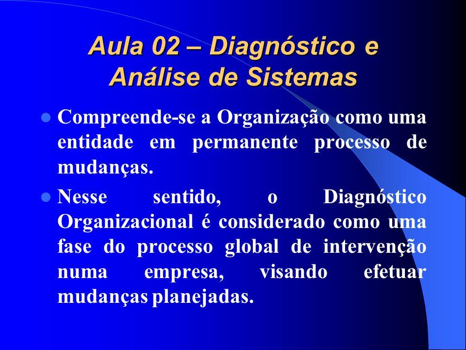 Aula 02 – Diagnóstico e Análise de Sistemas Compreende-se a Organização como uma entidade em permanente processo de mudanças. Nesse sentido, o Diagnós