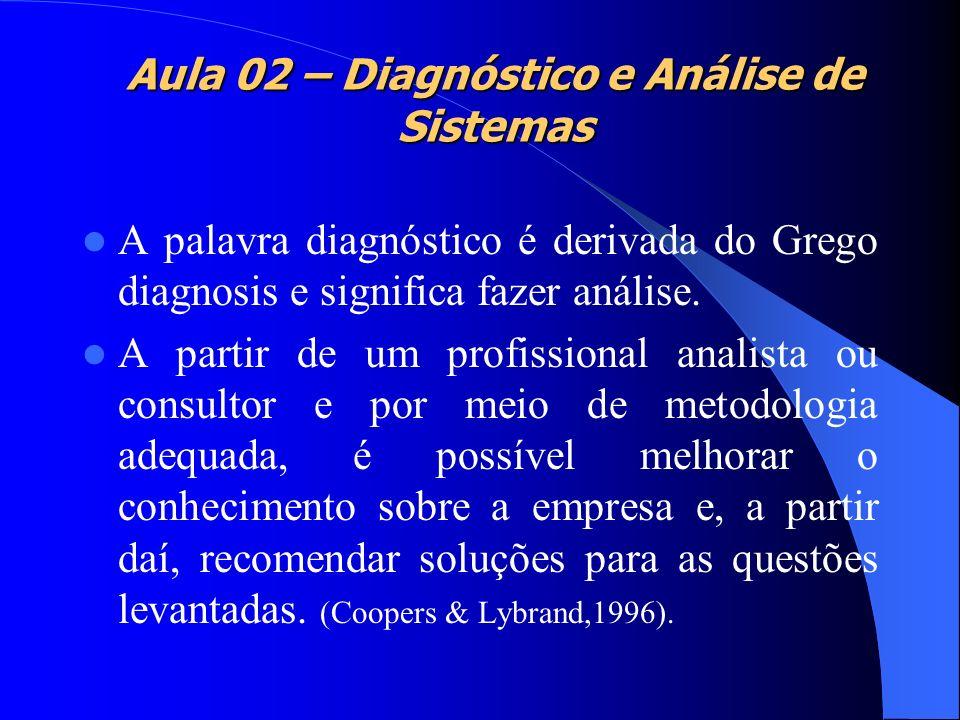 A palavra diagnóstico é derivada do Grego diagnosis e significa fazer análise. A partir de um profissional analista ou consultor e por meio de metodol