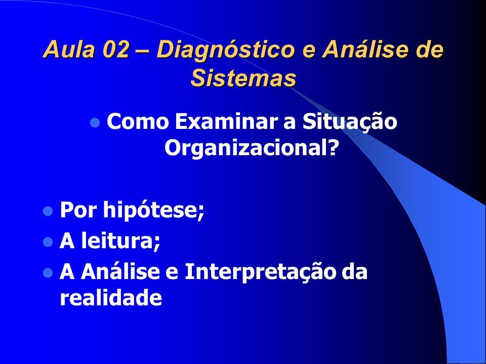Aula 02 – Diagnóstico e Análise de Sistemas Como Examinar a Situação Organizacional? Por hipótese; A leitura; A Análise e Interpretação da realidade