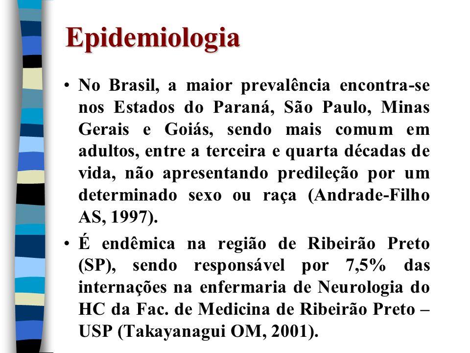 Epidemiologia No Brasil, a maior prevalência encontra-se nos Estados do Paraná, São Paulo, Minas Gerais e Goiás, sendo mais comum em adultos, entre a