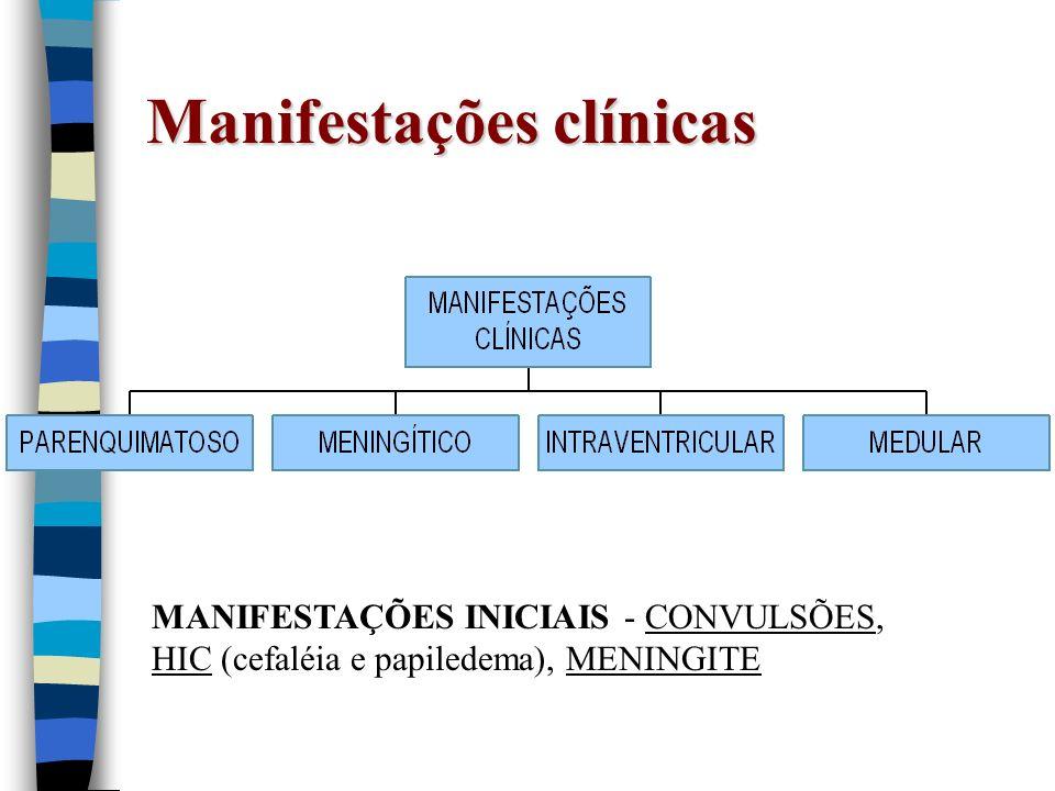 Manifestações clínicas MANIFESTAÇÕES INICIAIS - CONVULSÕES, HIC (cefaléia e papiledema), MENINGITE