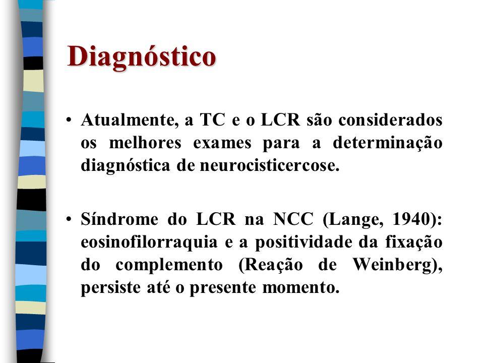 Diagnóstico Atualmente, a TC e o LCR são considerados os melhores exames para a determinação diagnóstica de neurocisticercose. Síndrome do LCR na NCC