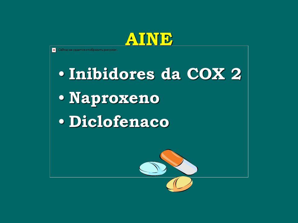 AINE Inibidores da COX 2 Inibidores da COX 2 Naproxeno Naproxeno Diclofenaco Diclofenaco