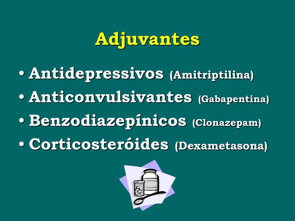 Adjuvantes Antidepressivos (Amitriptilina) Antidepressivos (Amitriptilina) Anticonvulsivantes (Gabapentina) Anticonvulsivantes (Gabapentina) Benzodiazepínicos (Clonazepam) Benzodiazepínicos (Clonazepam) Corticosteróides (Dexametasona) Corticosteróides (Dexametasona)