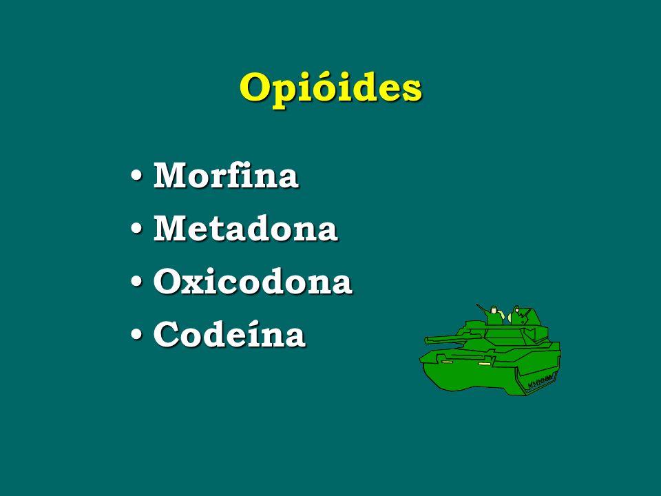 Opióides Morfina Morfina Metadona Metadona Oxicodona Oxicodona Codeína Codeína