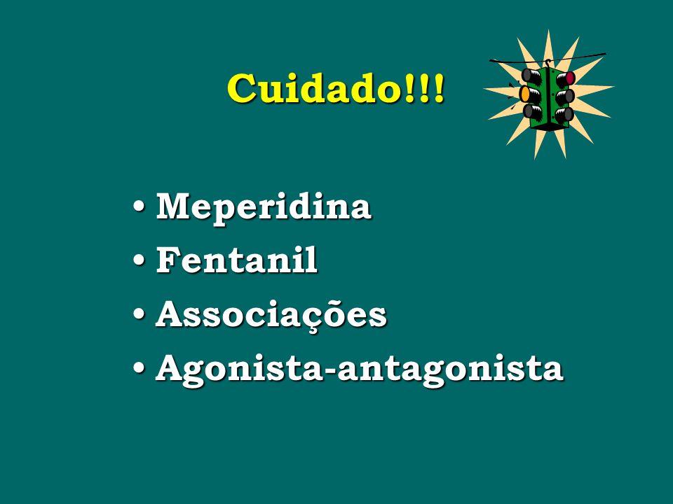 Cuidado!!! Meperidina Meperidina Fentanil Fentanil Associações Associações Agonista-antagonista Agonista-antagonista