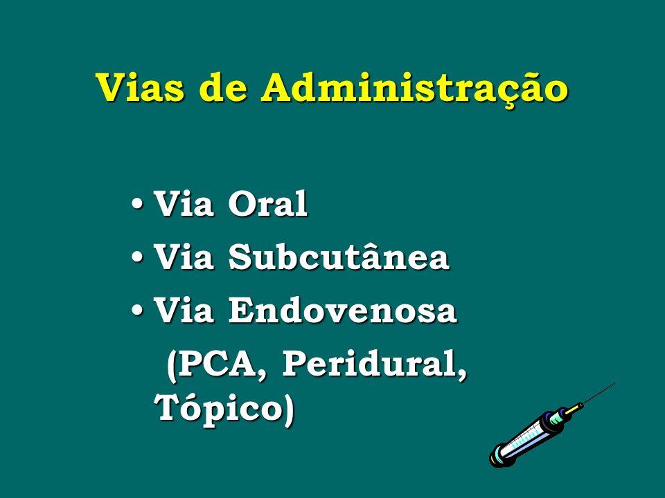 Vias de Administração Via Oral Via Oral Via Subcutânea Via Subcutânea Via Endovenosa Via Endovenosa (PCA, Peridural, Tópico) (PCA, Peridural, Tópico)