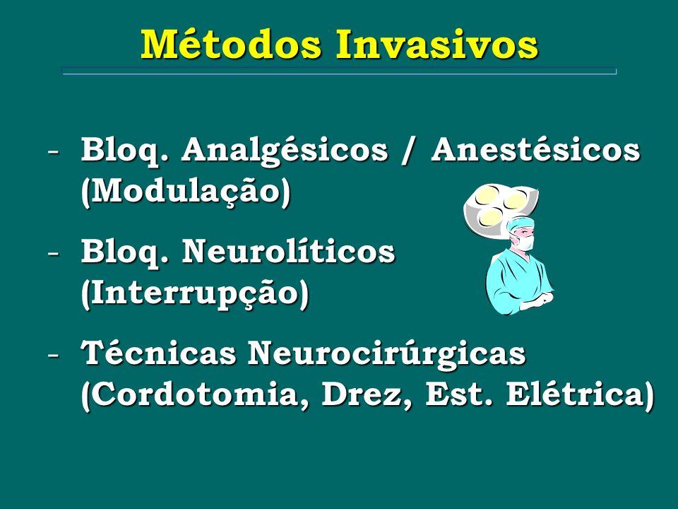 - Bloq. Analgésicos / Anestésicos (Modulação) - Bloq. Neurolíticos (Interrupção) - Técnicas Neurocirúrgicas (Cordotomia, Drez, Est. Elétrica) Métodos