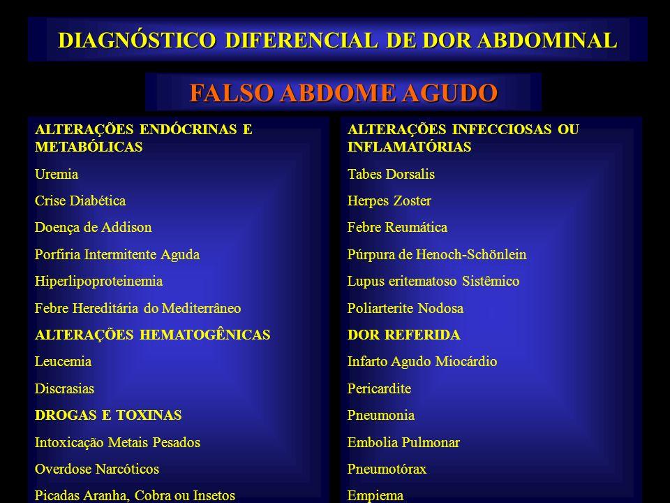 FALSO ABDOME AGUDO ALTERAÇÕES ENDÓCRINAS E METABÓLICAS Uremia Crise Diabética Doença de Addison Porfiria Intermitente Aguda Hiperlipoproteinemia Febre