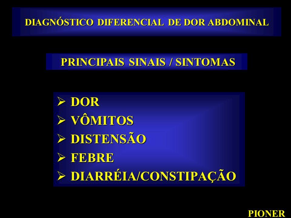 DIAGNÓSTICO DIFERENCIAL DE DOR ABDOMINAL DOR DOR VÔMITOS VÔMITOS DISTENSÃO DISTENSÃO FEBRE FEBRE DIARRÉIA/CONSTIPAÇÃO DIARRÉIA/CONSTIPAÇÃO PIONER PRIN