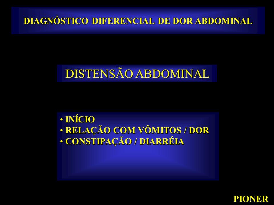 DIAGNÓSTICO DIFERENCIAL DE DOR ABDOMINAL PIONER DISTENSÃO ABDOMINAL INÍCIO INÍCIO RELAÇÃO COM VÔMITOS / DOR RELAÇÃO COM VÔMITOS / DOR CONSTIPAÇÃO / DI